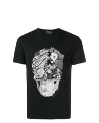 b84fb16d8 Men's Black and White Crew-neck T-shirts by Alexander McQueen ...