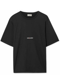 Saint Laurent Printed Cotton Jersey T Shirt Black