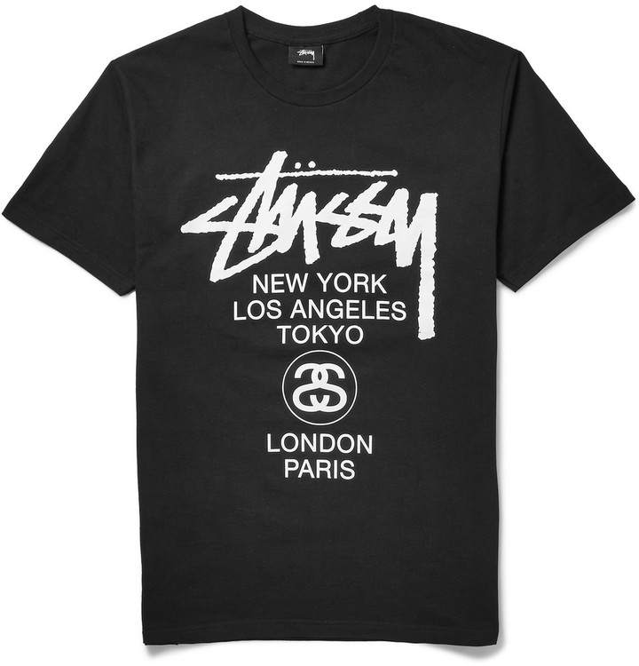 Stussy Stssy World Tour Printed Cotton Jersey T Shirt | Where to ...