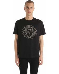 Versace Studded Medusa Cotton Jersey T Shirt