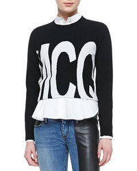 Alexander ueen logo cropped sweater medium 55381
