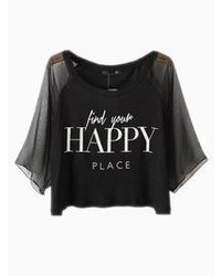 Black happy print crop top with mesh sleeves medium 59321