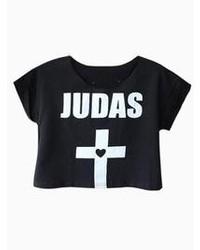 Choies Black Judas Print Crop Top