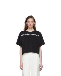 MM6 MAISON MARGIELA Black Wide Cropped T Shirt