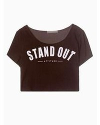 Choies Black Crop Top With Stand Out Print
