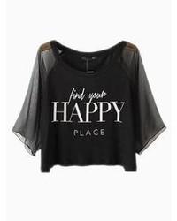 Choies Black Happy Print Crop Top With Mesh Sleeves