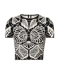 Alexander McQueen Cropped Jacquard Knit Top