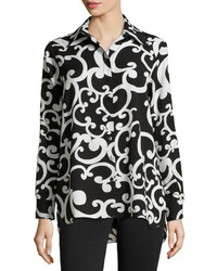 Neiman Marcus Scroll Print Long Sleeve Blouse Blackwhite
