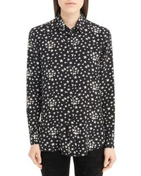 Saint Laurent Star Print Silk Blouse