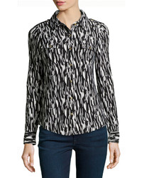BCBGMAXAZRIA Watercolor Print Jersey Button Front Blouse Blackwhitegray