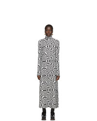 Lecavalier Black And White Print Long Dress