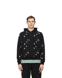 Off-White Black And White Allover Logo Oversized Hoodie
