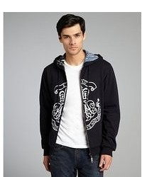 Etro Black And White Cotton Reversible Graphic Hoodie