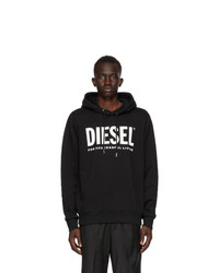 Diesel Black Loopback Cotton Logo Hoodie