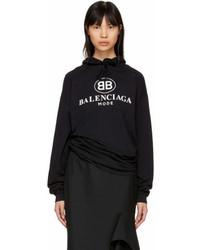Balenciaga Black Open Back Bb Mode Logo Hoodie