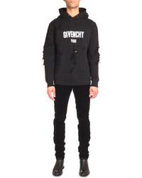 Distressed logo print hoodie black medium 457392