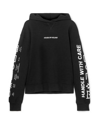 House of Holland Oversized Embroidered Cotton Terry Hoodie