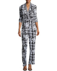 5twelve Printed Wrap Jumpsuit Blackwhite