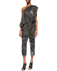 Thakoon Addition Printed Ruffled One Shoulder Jumpsuit
