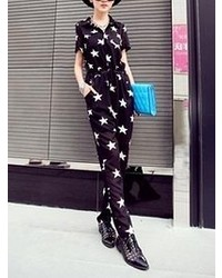 Choies Black Star Print Loose Jumpsuit
