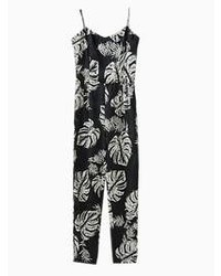 Choies Black Strap Jumpsuit With Coconut Tree Print