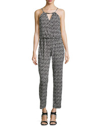 Liquid By Sioni Printed Halter Jumpsuit W Hardware Blackwhite