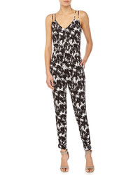 Neiman Marcus Palm Print Sleeveless Jumpsuit Blackwhite