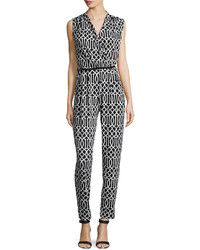 Neiman Marcus Pleated Sleeveless Printed Jumpsuit Blackwhite