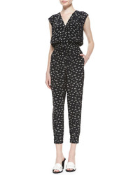Band Of Outsiders V Neck Cropped Snail Print Jumpsuit