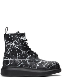 Alexander McQueen Black White Splatter Lace Up Boots