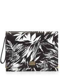 Jason Wu Jourdan 2 Tropical Print Leather Clutch Bag Blackivory