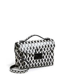 Black and White Print Leather Crossbody Bag