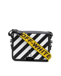 Off-White Diagonal Stripe Binder Clip Crossbody Bag