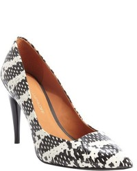Rebecca Minkoff Black And White Leather Cameron Pattern Printed Pumps
