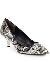 Kenneth Cole Pearl Snake Embossed Leather Point Toe Kitten Heel Pumps