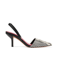 Diane von Furstenberg Mortelle Snake Effect Leather Slingback Pumps