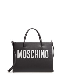 Moschino Logo Leather Shopping Bag