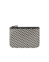 Black and White Print Leather Zip Pouch