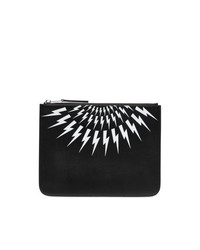 Neil Barrett Black And White Thunderbolt Leather Pouch Clutch