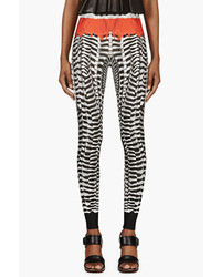 Alexander McQueen Black White Feather Print Leggings
