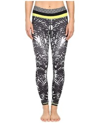 Pink Lotus Floral Burst Locate Printed Leggings With Contrast Band