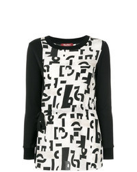 Black and White Print Long Sleeve Blouse
