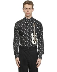 Black and White Print Long Sleeve Shirt