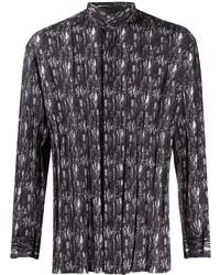 Issey Miyake Men Abstract Print Mandarin Collar Shirt