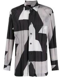 Issey Miyake Men Abstract Print Pleated Shirt