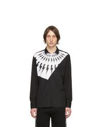 Neil Barrett Black And White Modernist Thunderbolt Shirt