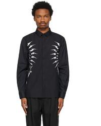 Neil Barrett Black Fair Isle Thunderbolt Shirt