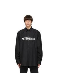 Vetements Black Front Logo Shirt