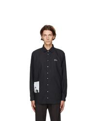 Isabel Benenato Black Graphic Print Oversized Shirt