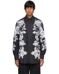 Valentino Black White Poplin Dark Blooming Shirt